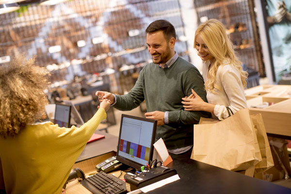 happy customers in the cashier